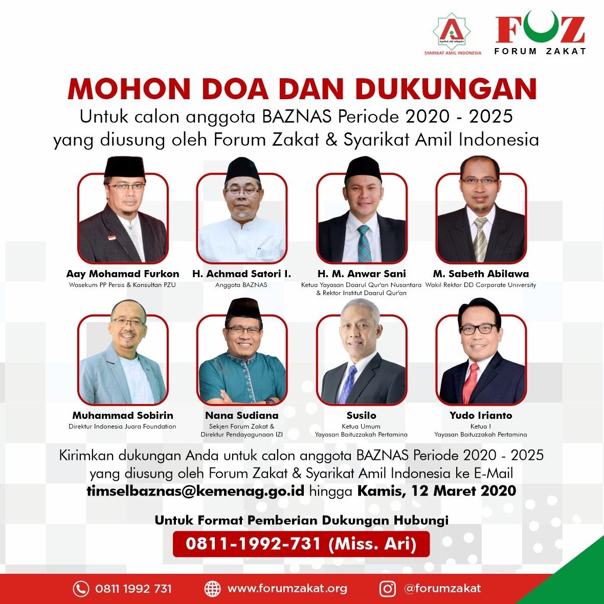 Inilah Delapan Calon Anggota BAZNAS yang didukung Forum Zakat