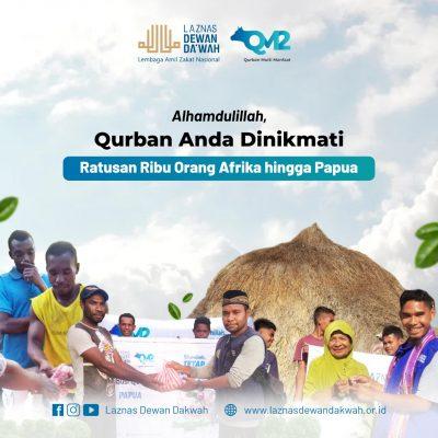 Alhamdulillah, Qurban LAZNAS Dewan Da'wah Dinikmati 298.125 orang dari Papua hingga Afrika